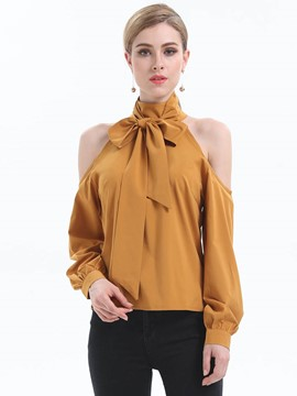 Ericdress Bow Tie Cold Shoulder Comfy Blouse