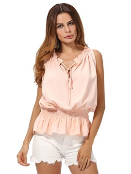 Ericdress Peplum Solid Color Tank Top