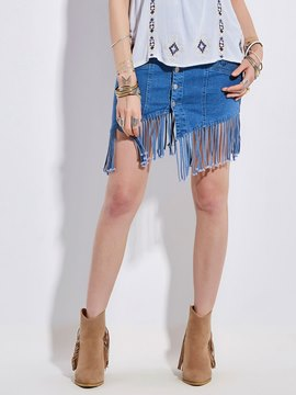 Bohoartist Tassel Button Patchwork Denim Women's Skirt