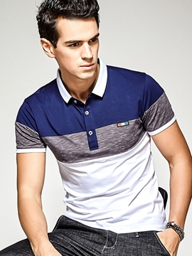 Ericdress Color Block Button Collar Casual Men's Polo T-Shirt