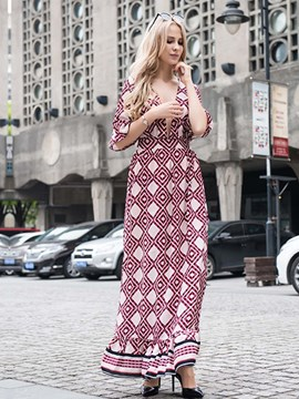 Ericdress Geometric Deep V-NeckHalf Sleeves Maxi Dress