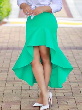 Ericdress Asymmetrical Pleated Light Color Column Skirts