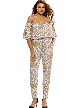 Ericdress Boat Neck Flower Print Women's Jumpsuits