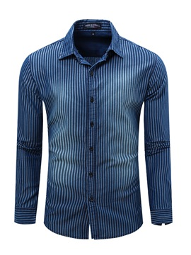 Ericdress Denim Long Sleeve Stripe Men's Shirt