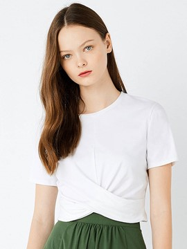 Ericdress Tie Solid Color Crop T-Shirt