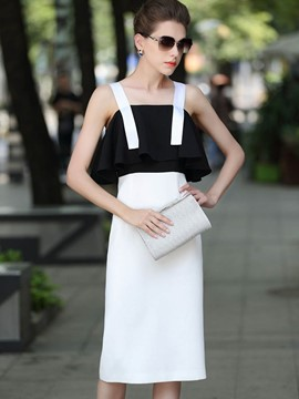 Ericdress spaghetti strap color block roffed frill dress