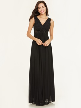 Ericdress V Neck Beaded Pleats A Line Evening Dress