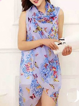 Ericdress Sleeveless Plant Print Chiffon Cover-Up