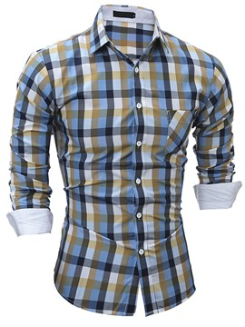 Ericdress Plaid Long Sleve Slim Men's Shirt