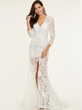 Ericdress V Neck Split-Front Lace Evening Dress