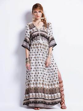 Ericdress Deep V-Neck Bell Sleeve Geometric Pattern Maxi Dress