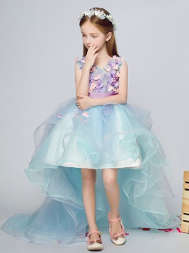 Ericdress 3D Flowers High Low Flower Girl Dress with Train
