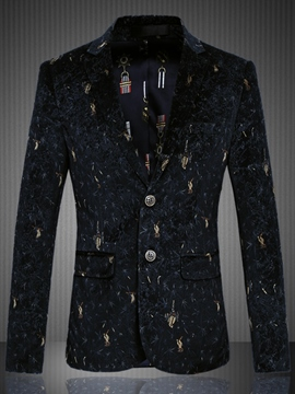 Ericdress Velvet Print Plus Size Casual Men's Blazer