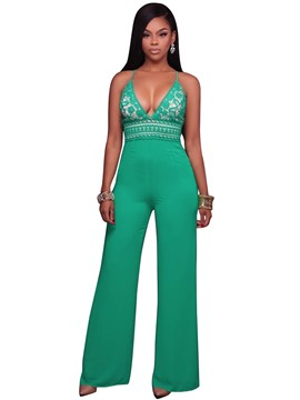 Ericdress Backless Lace Wide Legs Jumpsuits Pants