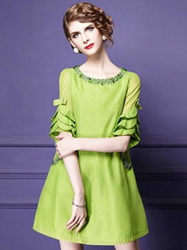 Ericdress European Plain Bead-Decorated Ruffle Sleeve Casual Dress