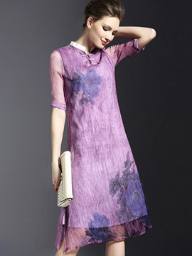 Ericdress Mori Girl Vintage PrintSee-Through Casual Dress