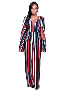Ericdress V-Neck Striped Wide Leg Women's Jumpsuits