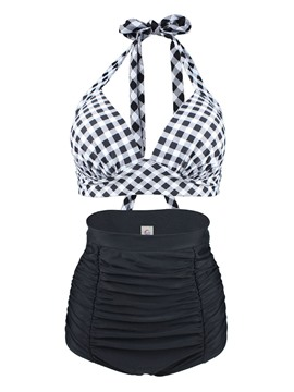 Ericdress Lace-Up Plaid High-Waist Tankini Set (Plus Size Available)