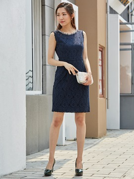 Ericdress Sleeveless Rhinestone Beading Decorative Lace Dress Suit