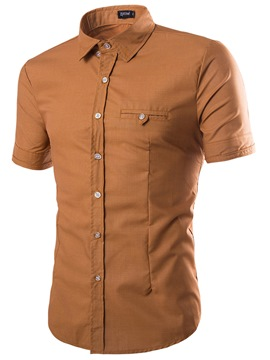 Ericdress Plain Short Sleeve Simple Slim Men's Shirt