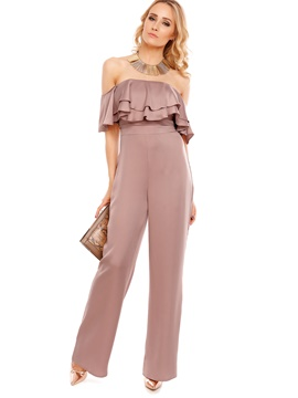 Ericdress Ruffles Off Shoulder Women's Jumpsuit