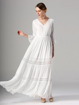Ericdress Plain V-Neck 3/4 Length SleevesExpansion Maxi Dress
