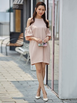 Ruffle Sleeve Cold Shoulder Beading Decorative Party Dress