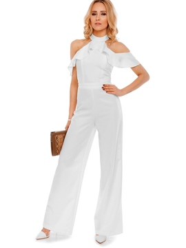 Ericdress Dew shoulder Ruffles Wide Legs Jumpsuits Pants