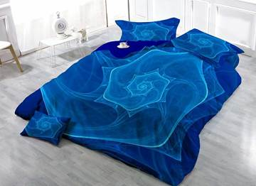 3D Blue Vortex Printed Cotton 4-Piece Bedding Sets/Duvet Covers
