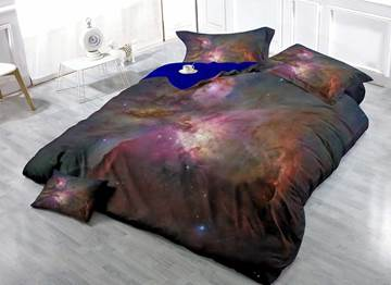 3D Galaxy and Dazzling Star Printed Cotton 4-Piece Bedding Sets/Duvet Covers