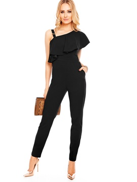 Ericdress Asymmetric Black Pure Color Jumpsuits Pants