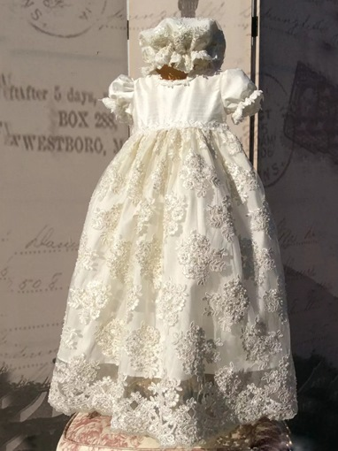 Ericdress Beading Appliques Bonnet Baby Girl's Baptism Christening Gown