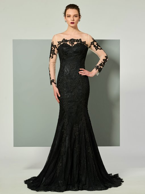 Ericdress Long Sleeve Applique Lace Mermaid Evening Dress