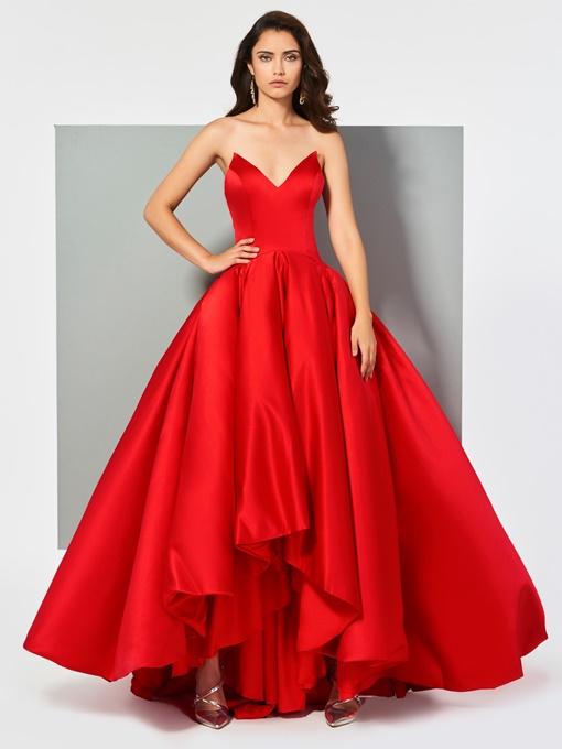 Ericdress V Neck Ball Gown Red Evening Dress