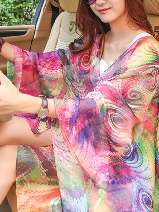 Ericdress Colorful Plant Print Charmeuse Beach Cover Ups