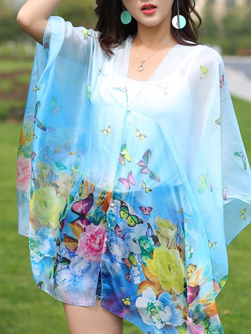 Ericdress Chiffon Pearl Buckle Rose Print Cover-Up