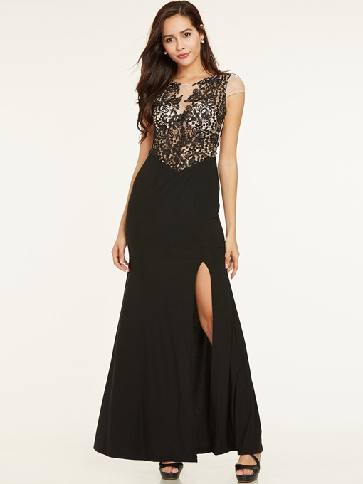 Ericdress Scoop Neck Split-Front Lace Sheath Evening Dress