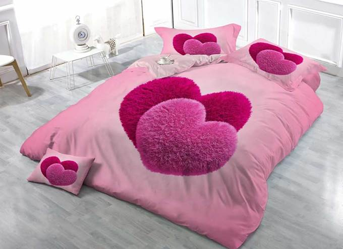 Sweet Hear Linked Princess Style 3D Printed Cotton 4-Piece Luxurious Bedding Sets