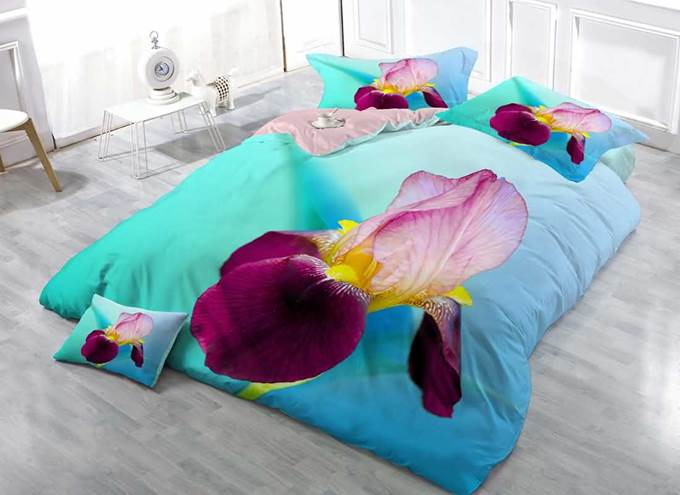 3D Purple and Pink Iris Tectorum Printing 4-Piece Bedding Sets/Duvet Covers