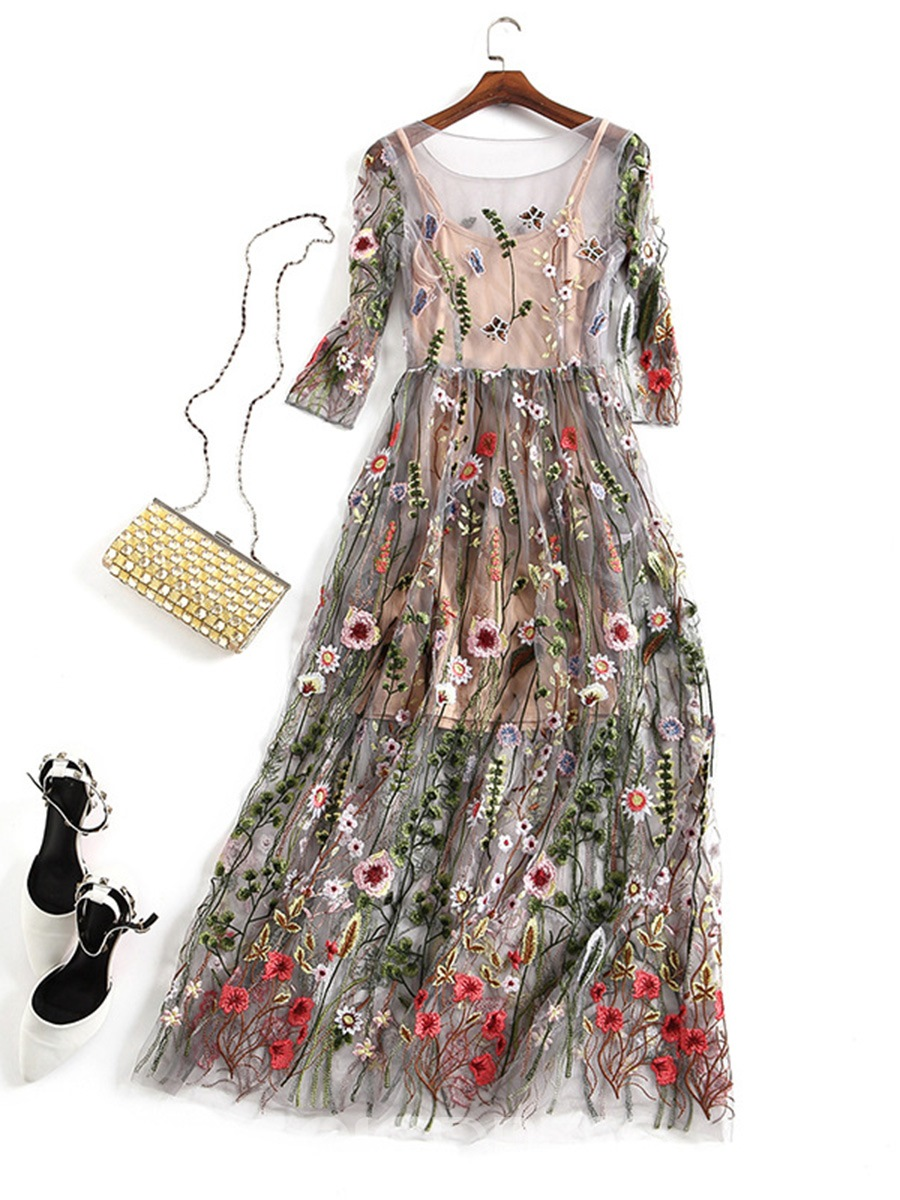 Ericdress See-Through Floral Embroidery Maxi Dress 12959751