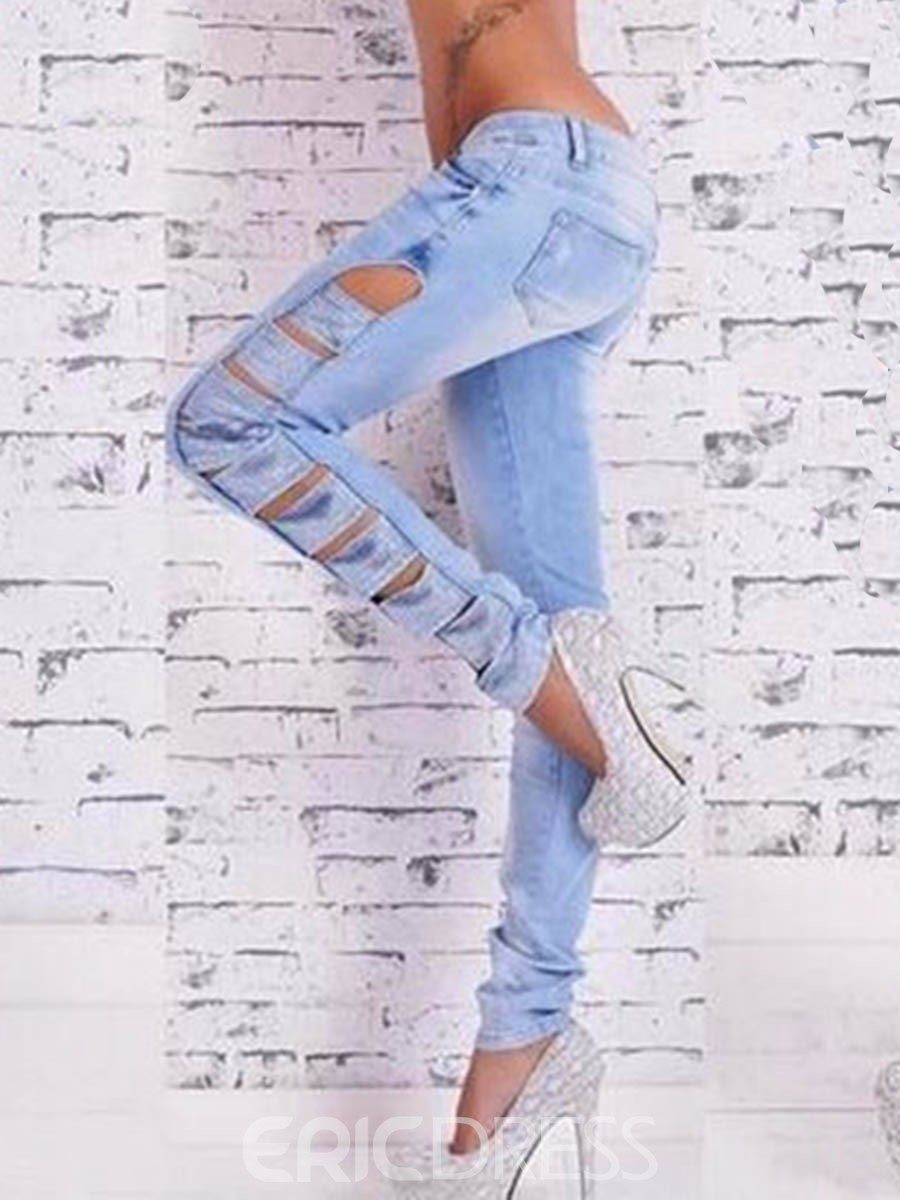 Ericdress Low Waisted Light Blue Worn-out Womens Jeans