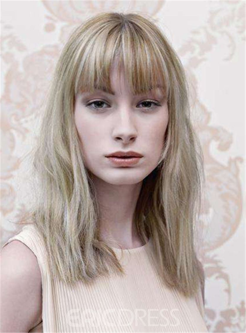 Ericdress Medium Bob Hairstyle Straight Blonde Synthetic Hair Capless Women Wigs 12 Inches