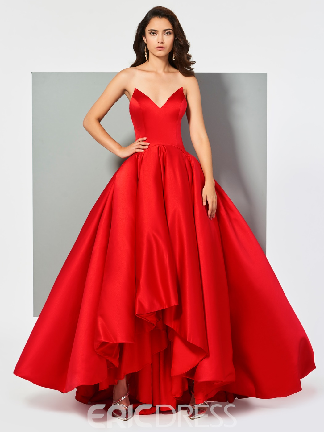 Ericdress A Line V Neck Ball Evening Gown With Zipper Up