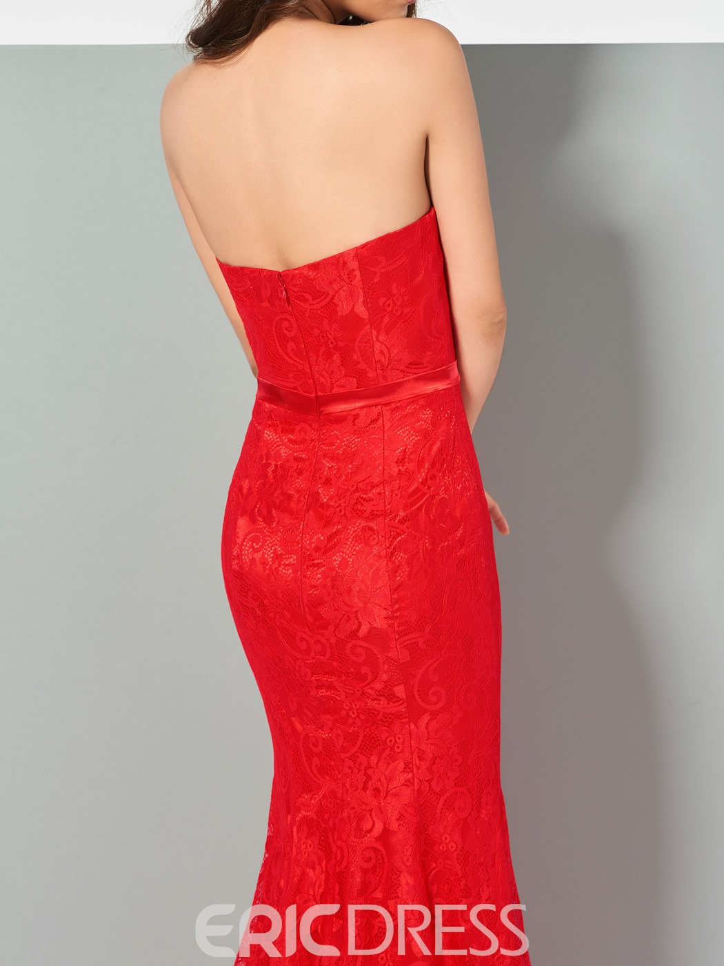 Ericdress Mermaid Strapless Lace Evening Dress In Floor Length