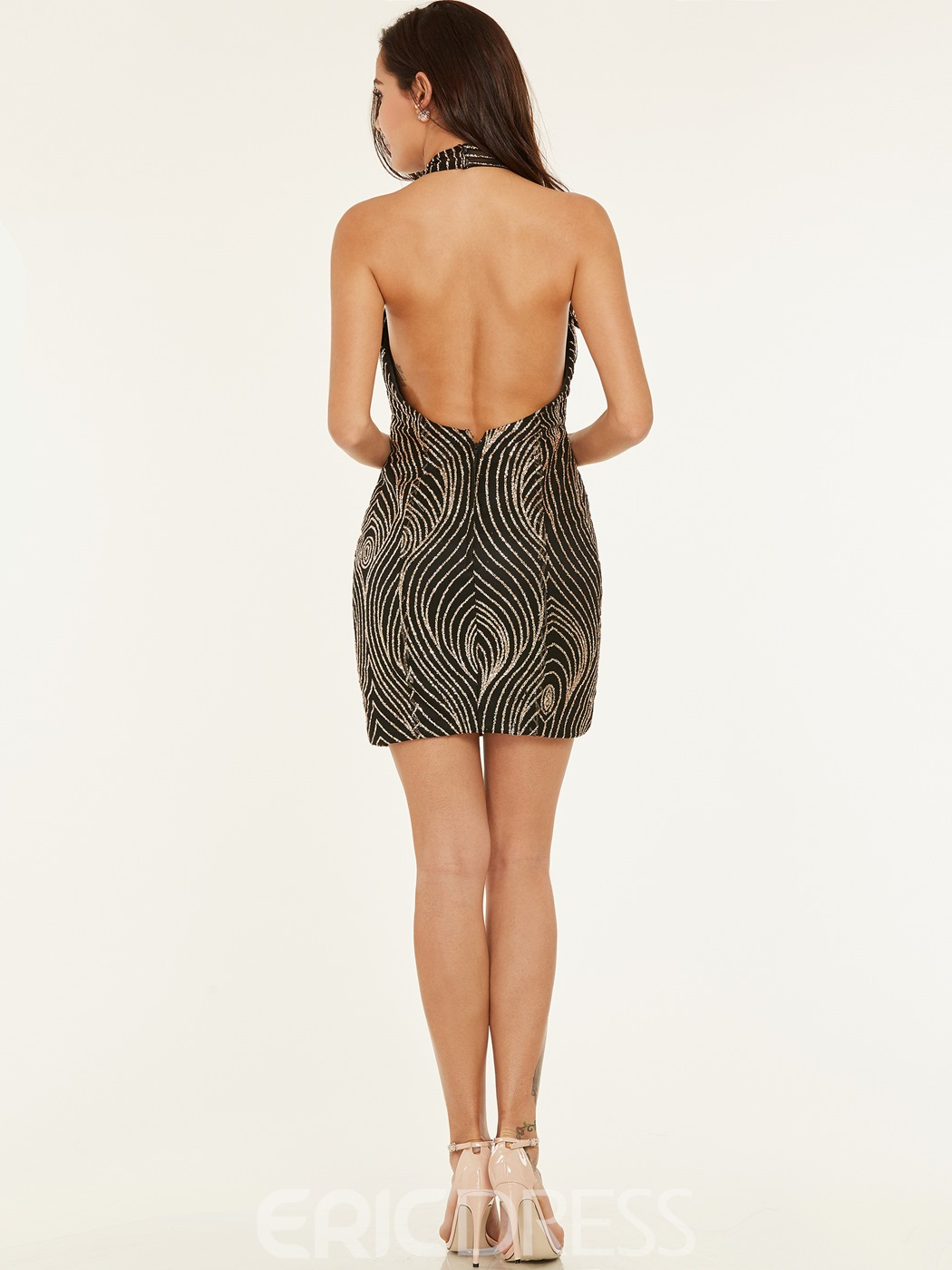 Ericdress Halter Sequins Backless Bodycon Homecoming Dress
