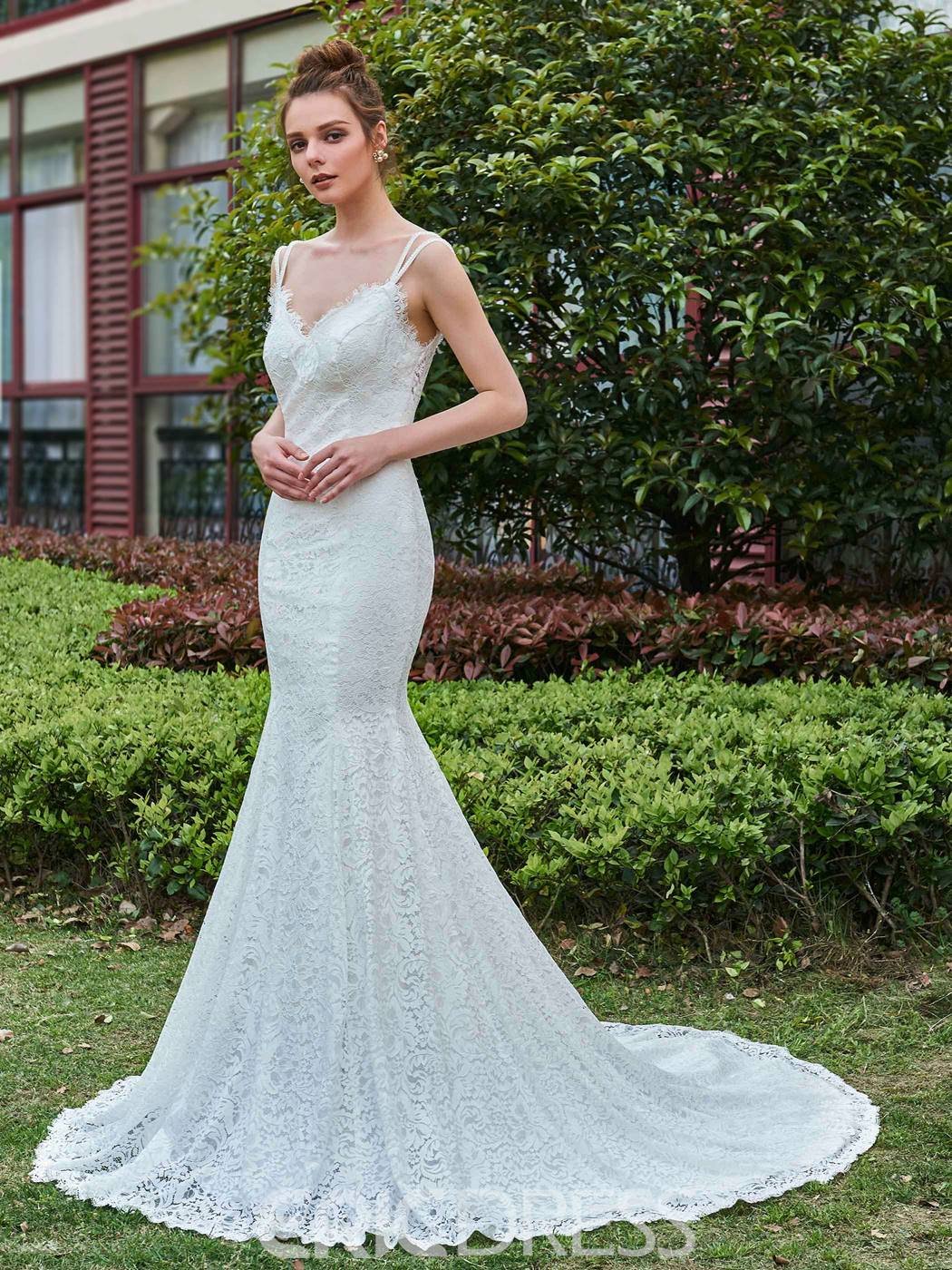 Ericdress Mermaid Lace Spaghetti Straps Backless Wedding Dress