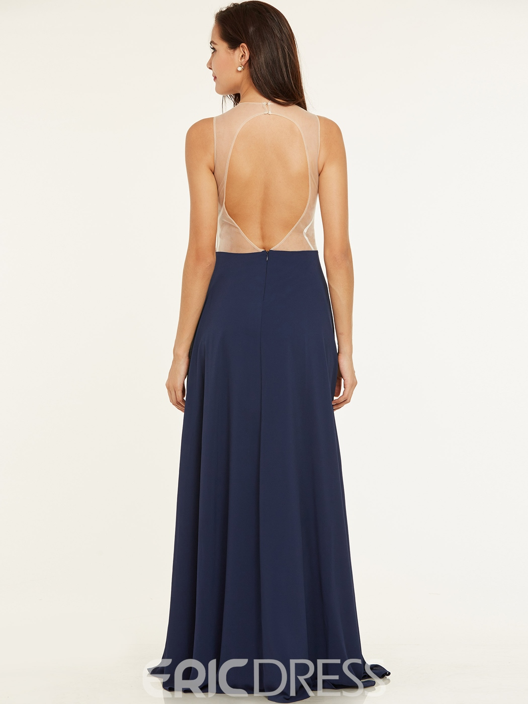 Ericdress Scoop Neck Backless Beaded A Line Evening Dress
