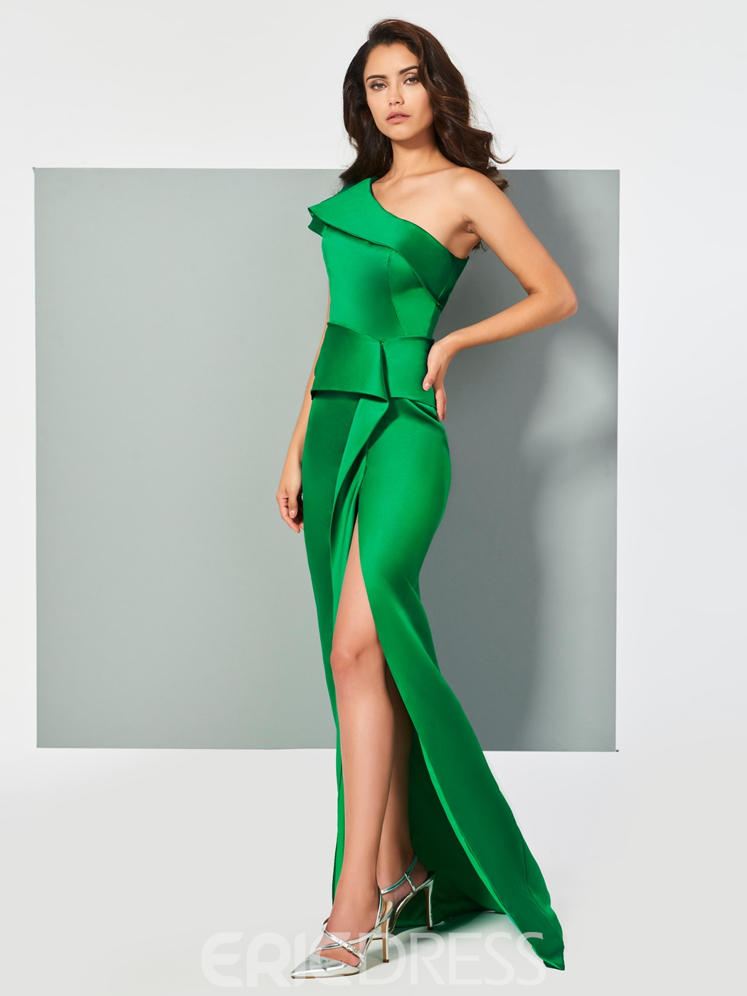 Ericdress One Shoulder Satin Mermaid Evening Dress With Split Side