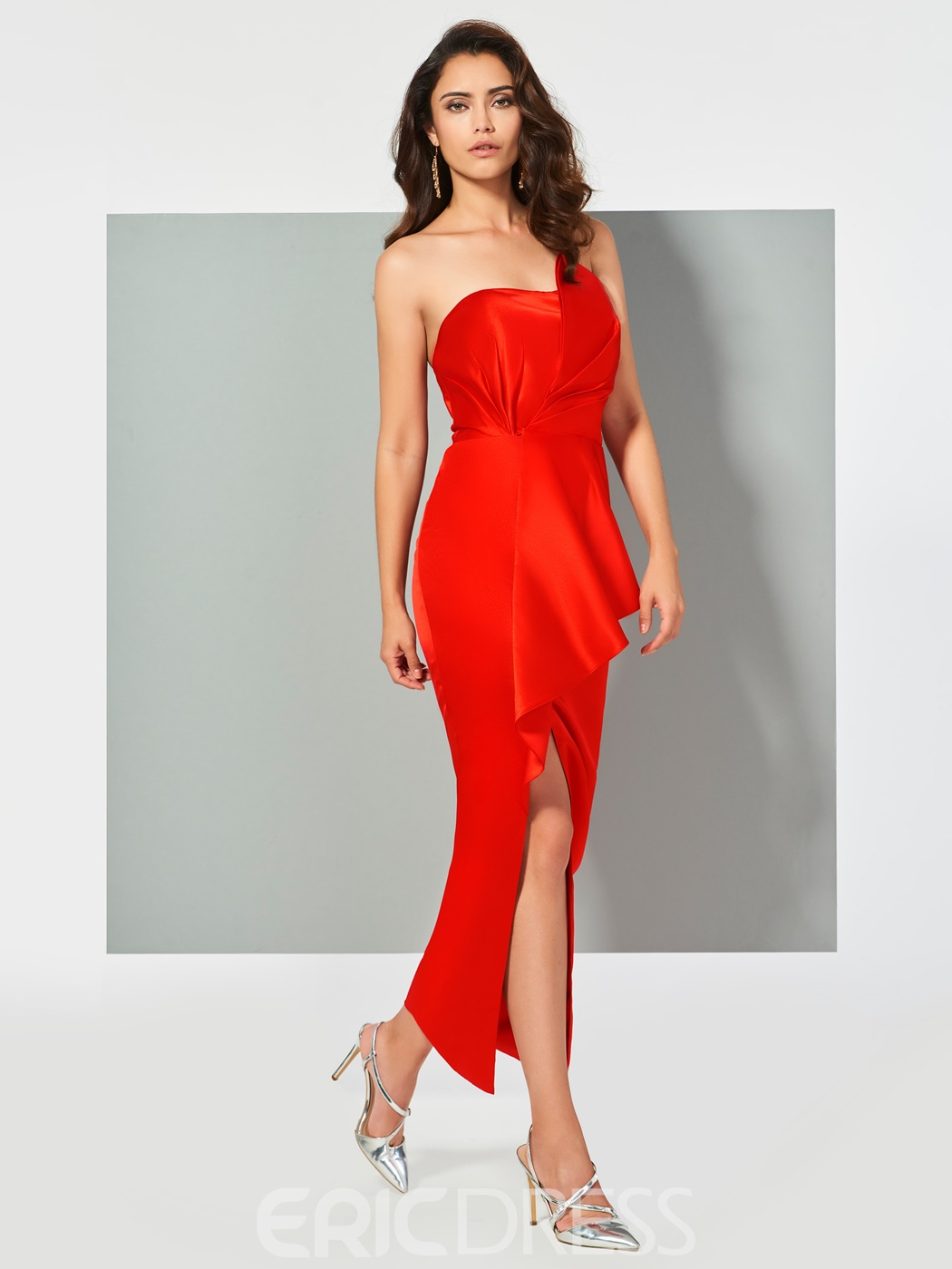 Ericdress Sheath Strapless Slit Front Ankle Length Evening Dress