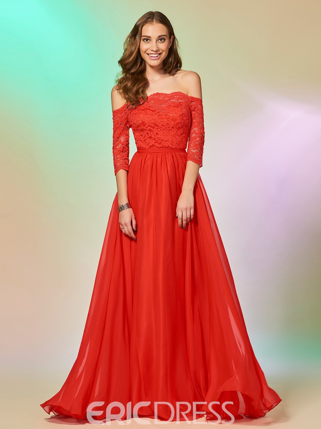 Ericdress A Line Half Sleeve Off The Shoulder Lace Long Prom Dress